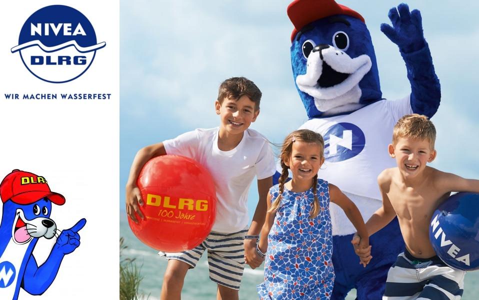Mascottepak Nobbi voor DLRG en Nivea gemaakt door Promo Bears