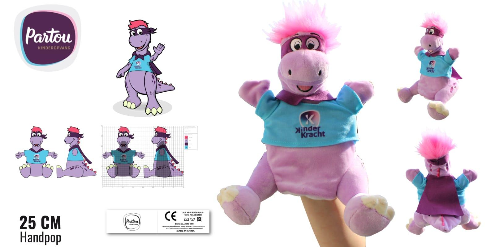 Handpoppen laten maken Draak Daantje voor Partou Kinderopvang 25 cm -Promo Bears-