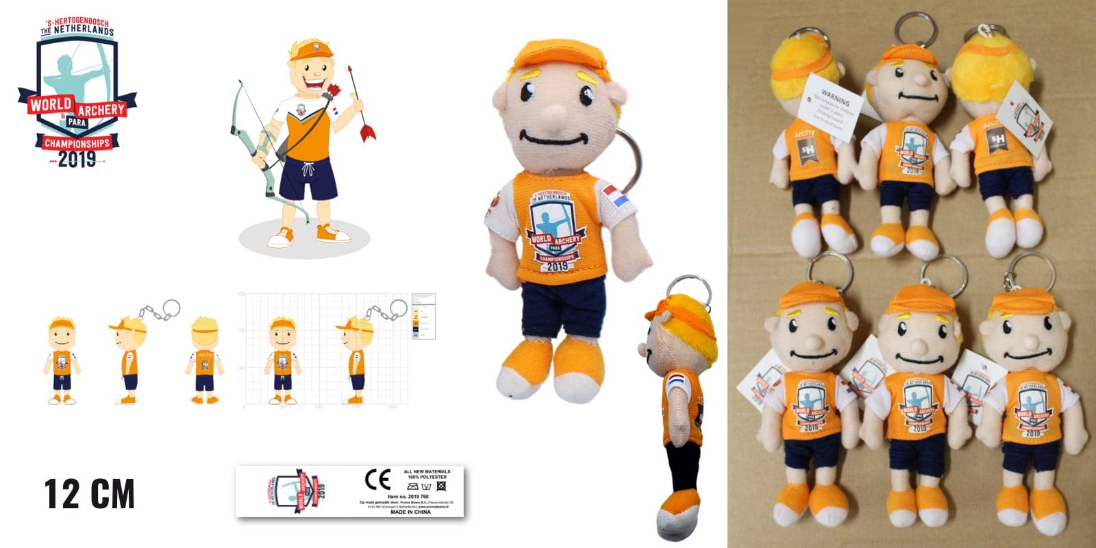 Knuffel sleutelhangers laten maken Archy voor WK handboogschieten 12 cm -Promo Bears-