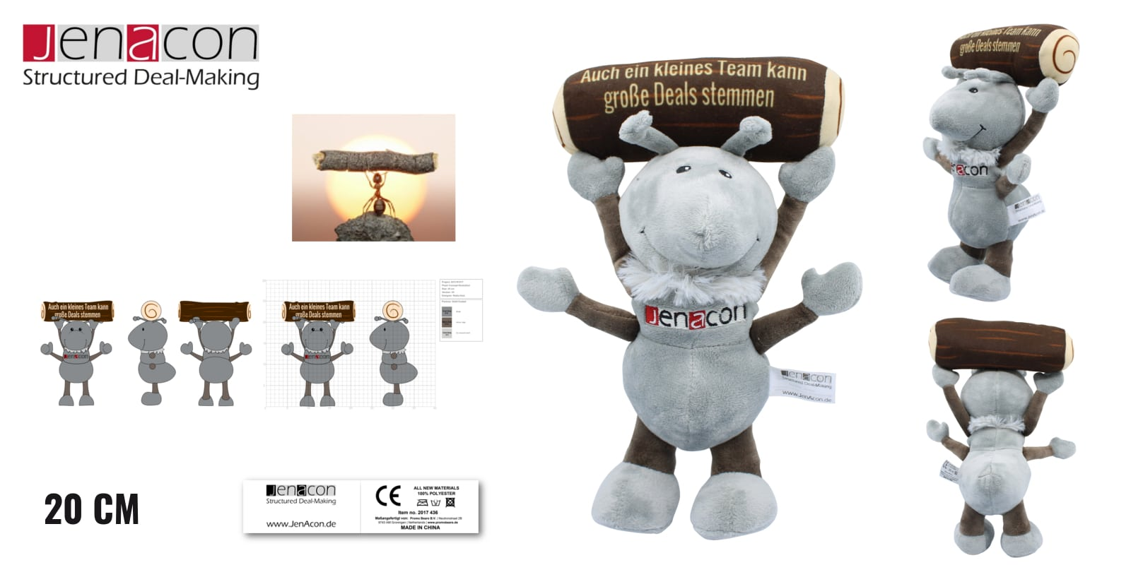 Knuffels laten maken Mier voor Jenacon 20 cm -Promo Bears-