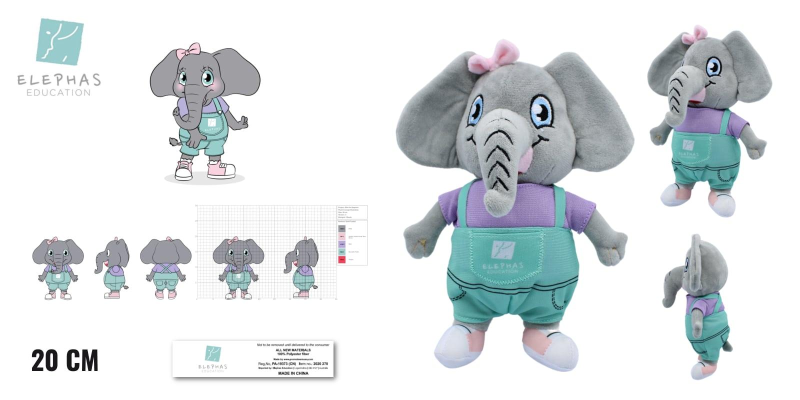 Knuffels laten maken Olifant knuffel voor Elephas Education 20cm -Promo Bears-