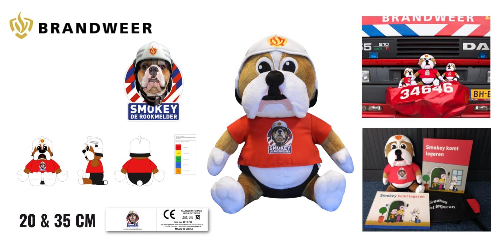 Smokey Knuffels op maat gemaakt voor de Brandweer 20 en 35 cm -Promo Bears-