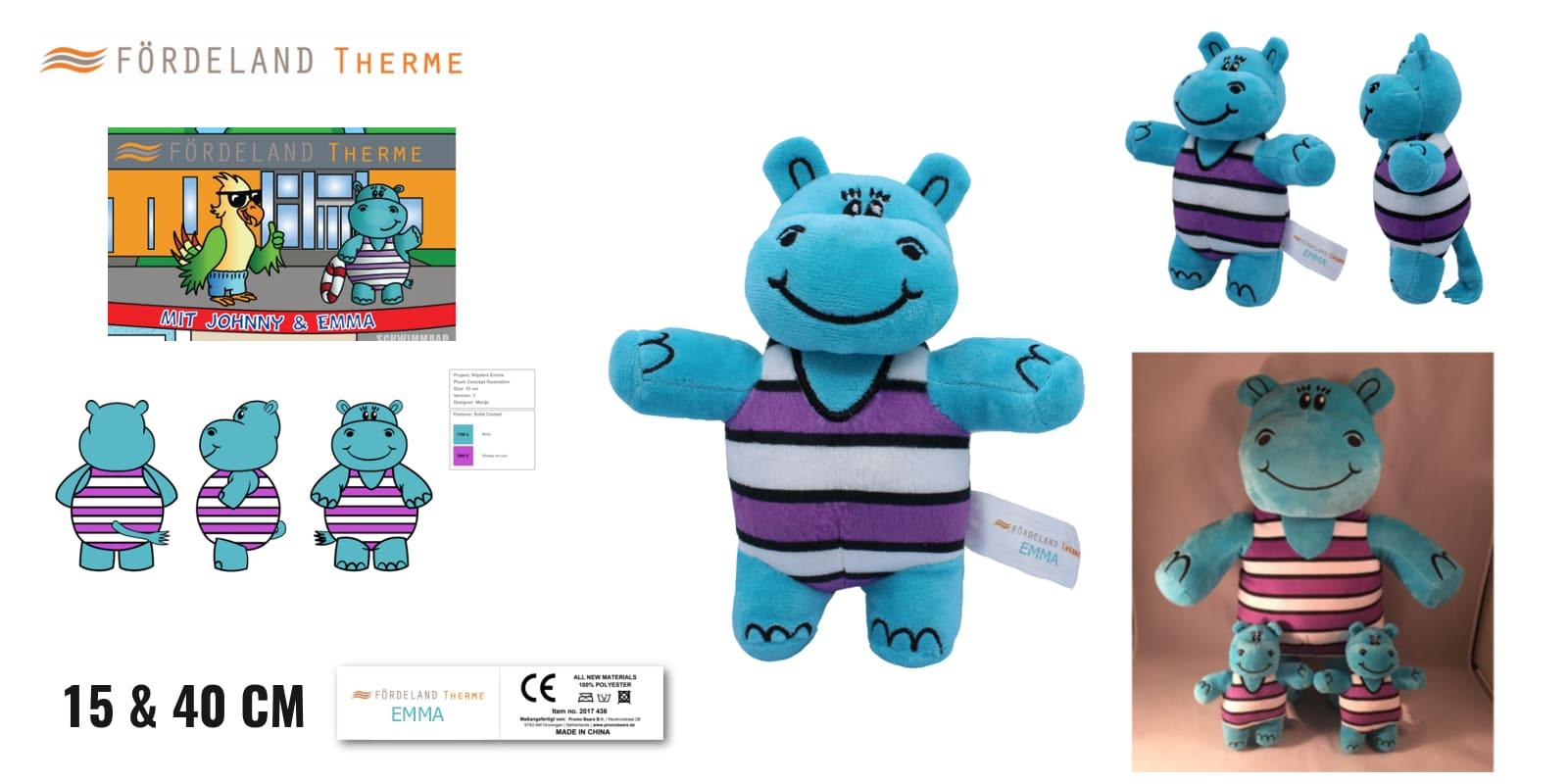 Knuffels laten maken Nijlpaard Emma voor Förderland Therme -Promo Bears-