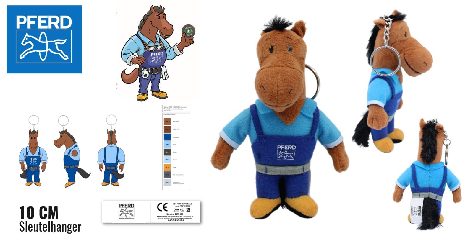 Knuffels laten maken Paard Pferdinand voor PFERD 10 cm sleutelhanger -Promo Bears-